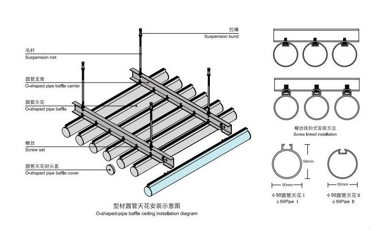 铝圆管安装示意图